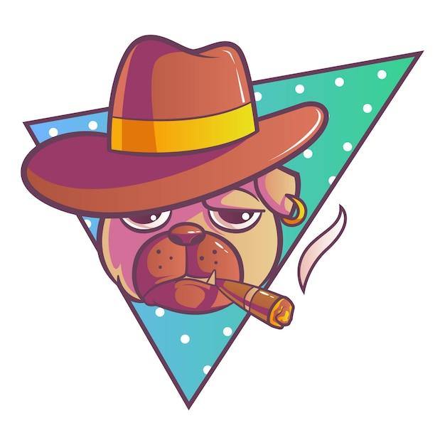 Illustration of pug dog. Premium Vector