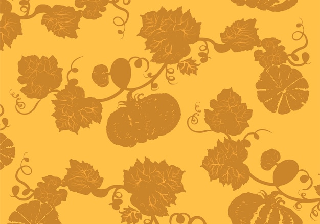 Illustration of pumpkins in yellow background Free Vector