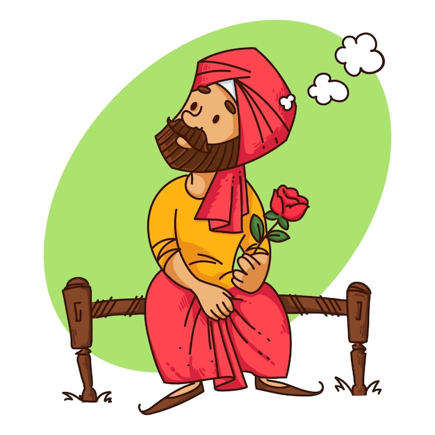 Illustration of punjabi man with rose. Premium Vector