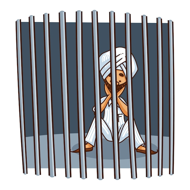 Illustration of punjabi sardar behind the bars . Premium Vector