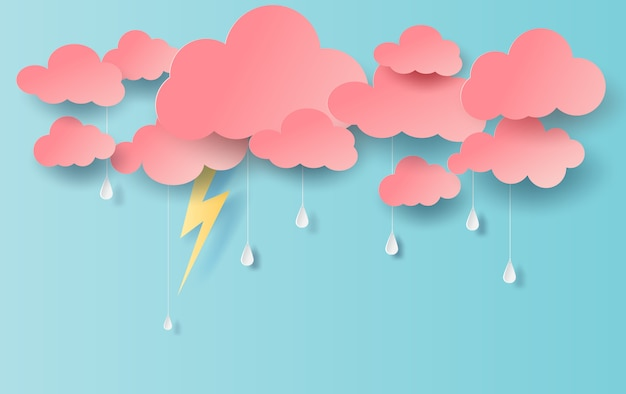 Illustration of rain view with cloud and yellow Premium Vector