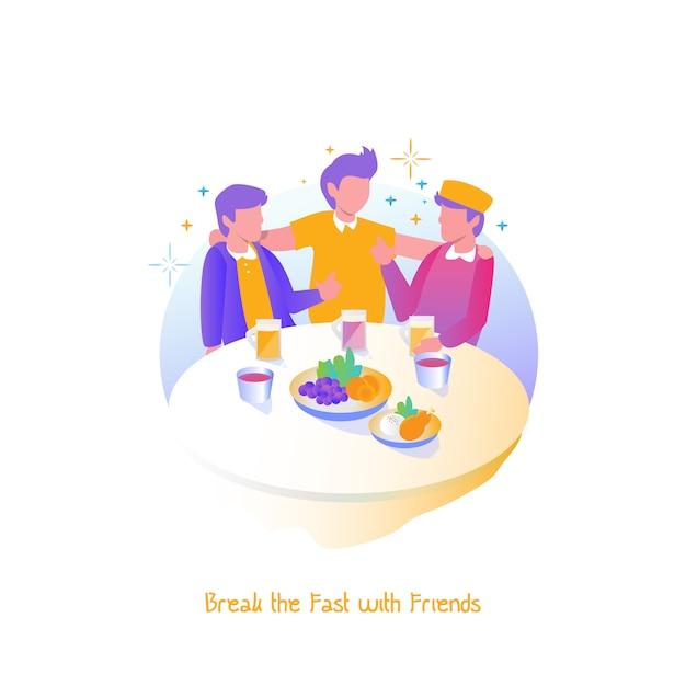 Illustration ramadan, break the fast with friends Premium Vector
