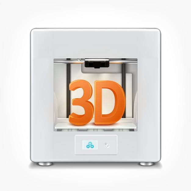 Premium Vector | Illustration of realistic office 3d printer.