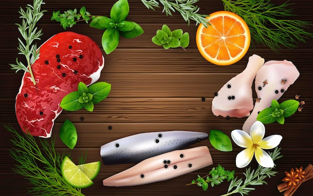 Illustration of realistic spices and herbs Premium Vector