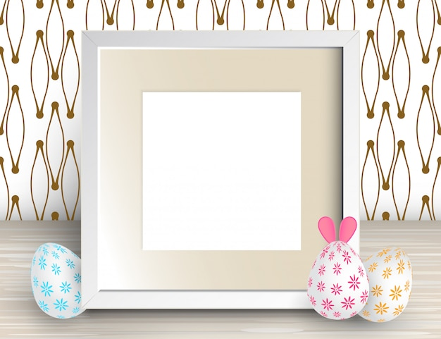 Illustration of realistic square frame and easter eggs. white blank picture frame Premium Vector