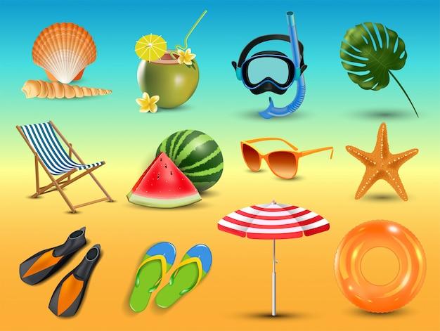 Illustration of realistic summer holidays seaside beach icons set isolated on seaside background Premium Vector