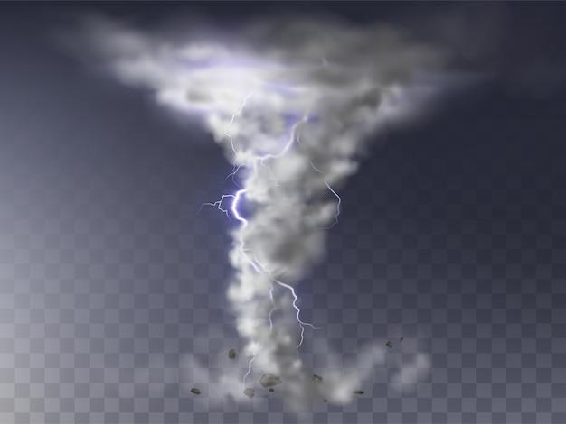 Illustration of realistic tornado with lightning, destructive hurricane Free Vector