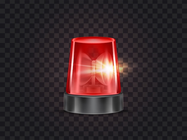 Illustration of red flasher, flashing beacon with siren for police and ambulance cars Free Vector