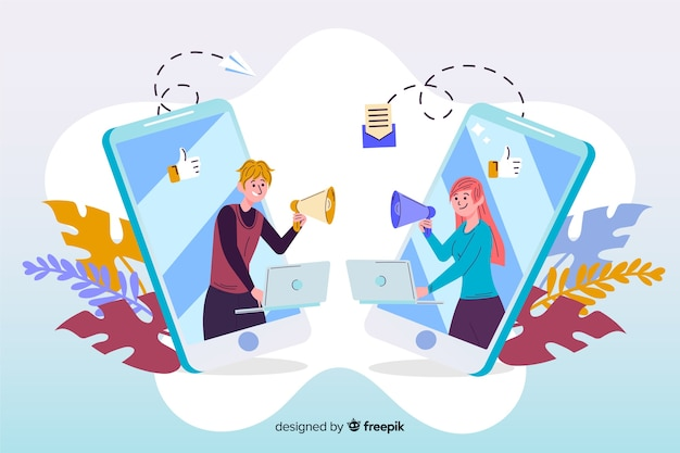 Illustration of referring a friend concept Free Vector