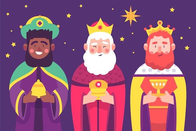 Illustrazione dei personaggi di reyes magos Vettore gratuito
