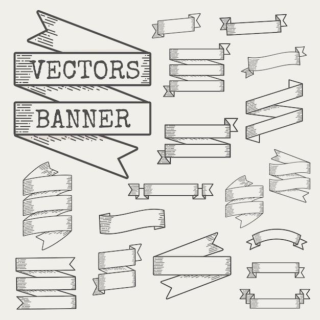 Illustration of ribbon banner set Free Vector