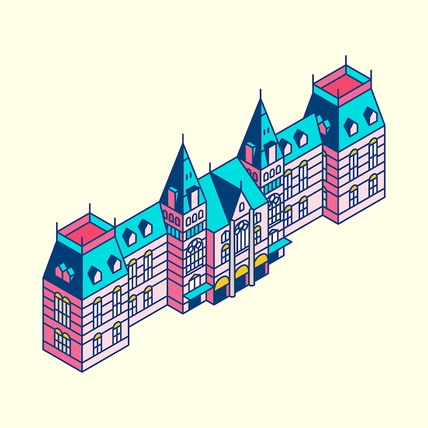 Illustration of the rijksmuseum in netherland Free Vector