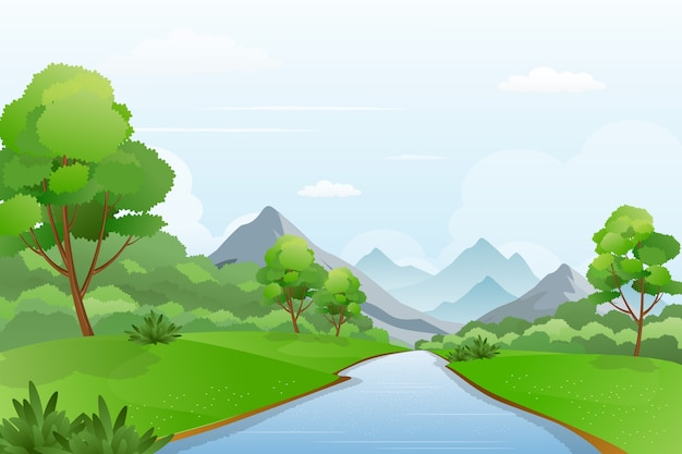 Illustration of river a cross mountains, beautiful riverside landscape scenery Premium Vector
