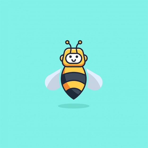 Illustration  robot bee cute cartoon style Premium Vector