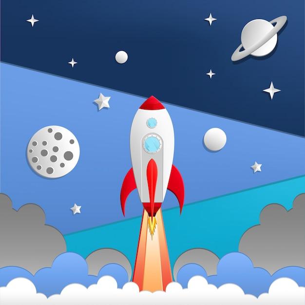 Illustration of rocket in space Premium Vector