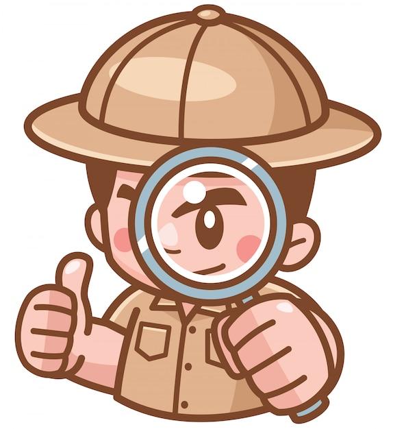 Illustration of safari boy with magnifying glass Premium Vector