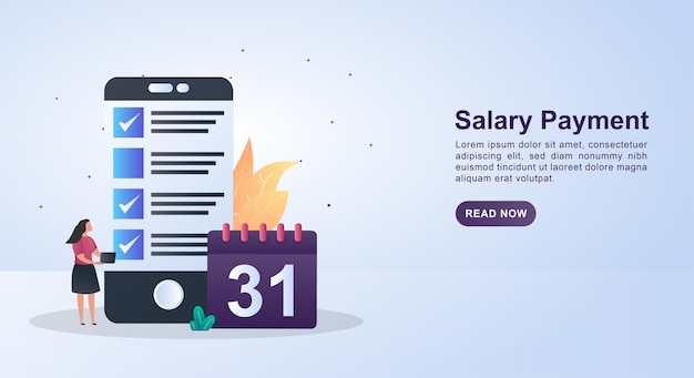Illustration  of salary payment with payroll and date on calendar. Premium Vector