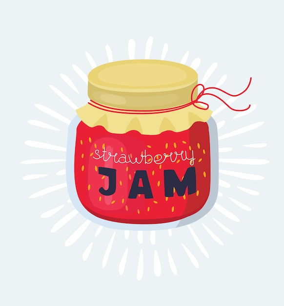 Illustration of a sandwich with a stawberry jam on a white background Premium Vector