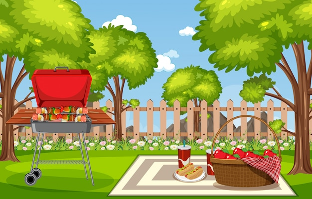 Illustration of scene with bbq in the park Premium Vector