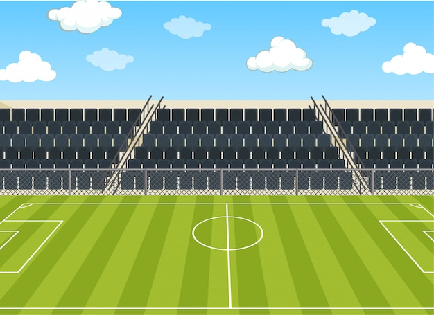 Illustration scene with football field and stadium Free Vector