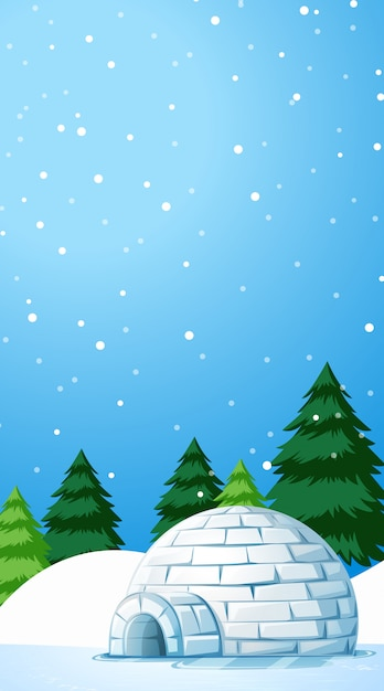 Illustration scene with igloo on snow field Free Vector