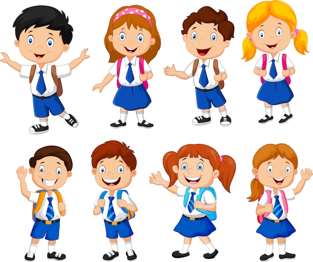 Illustration of school children cartoon Premium Vector