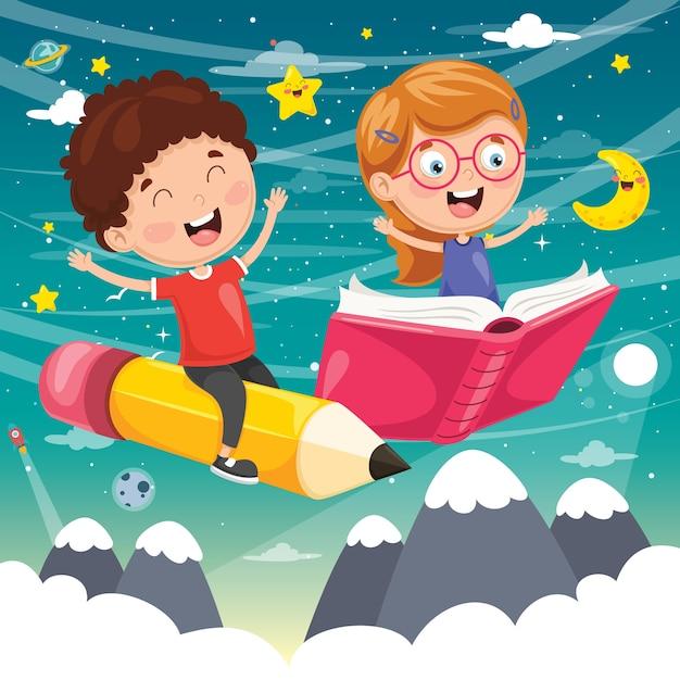 Illustration of school children flying Premium Vector