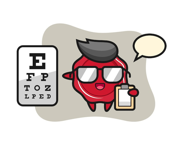 Illustration of sealing wax mascot as a ophthalmology Premium Vector