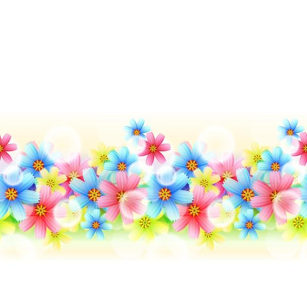 イラストシームレスな美しい花のボーダーは白で隔離 無料ベクター