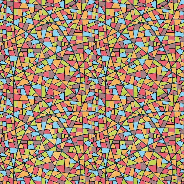 Illustration seamless mosaic pattern. stained glass style Free Vector
