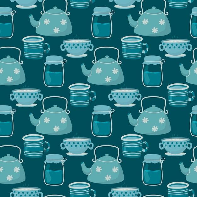イラストシームレスパターン。かわいい落書きのお茶とコーヒーカップ、ティーポットとガラスの瓶。 Premiumベクター