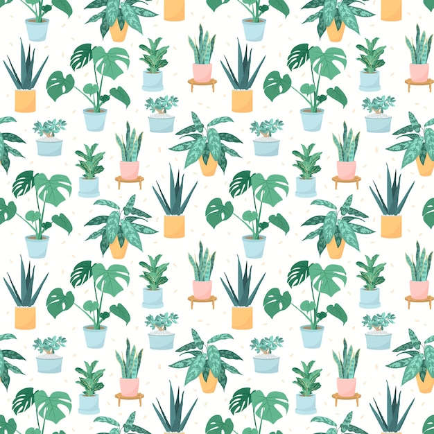 Illustration of a seamless pattern of trendy house plants in pots Premium Vector