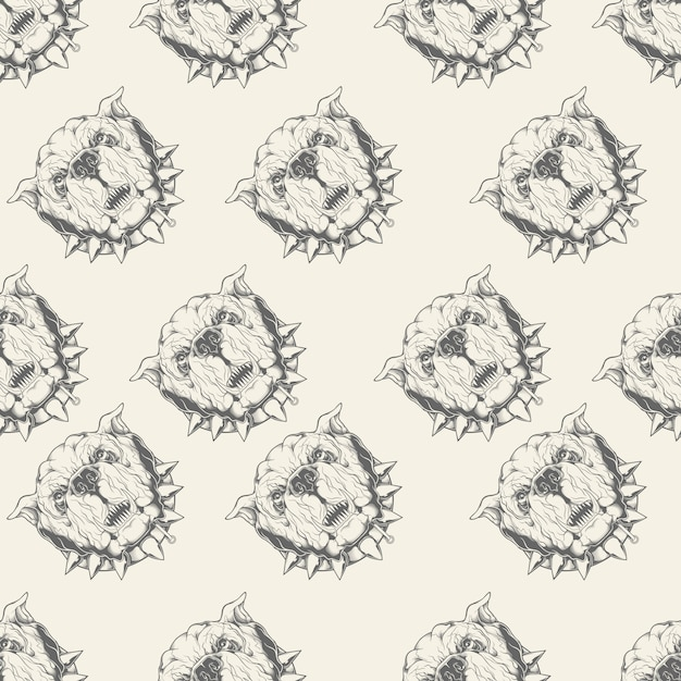 Illustration seamless pattern with bulldog Premium Vector