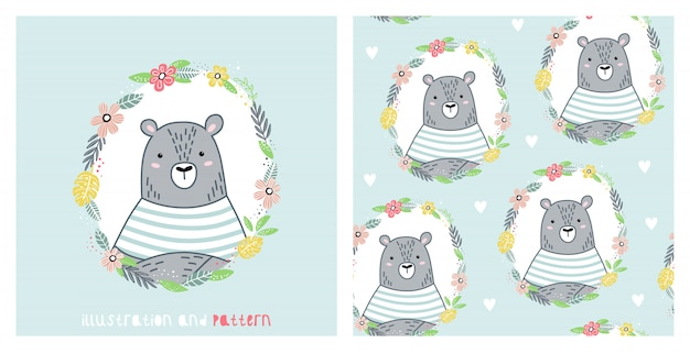 Illustration and seamless pattern with cute bear Premium Vector