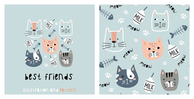 Illustration and seamless pattern with cute cat. Premium Vector