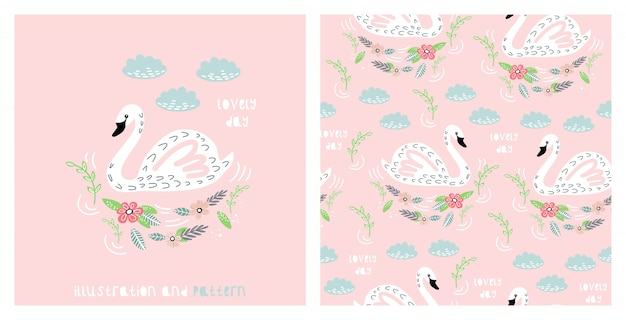 Illustration and seamless pattern with cute swan Premium Vector