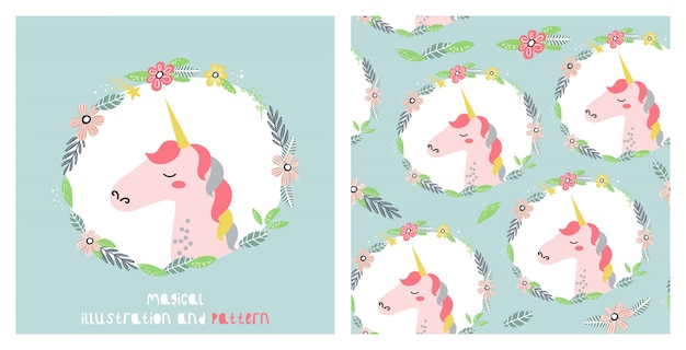 Illustration and seamless pattern with cute unicorn Premium Vector