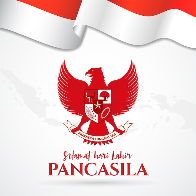 Illustration. selamat hari lahir pancasila. translation: happy pancasila day. Premium Vector