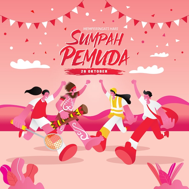 Illustration. selamat hari sumpah pemuda. translation: happy indonesian youth pledge. suitable for greeting card, poster and banner Premium Vector