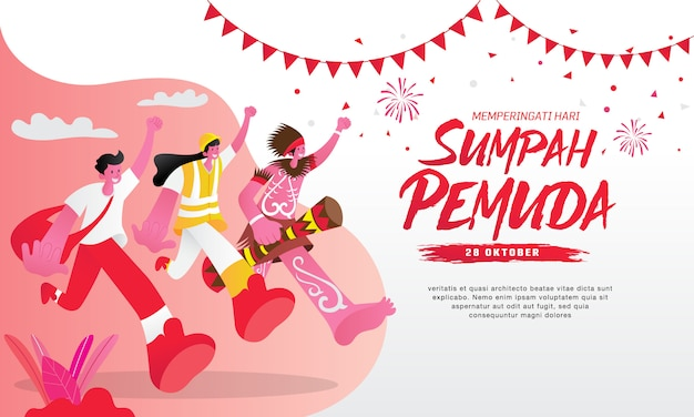 Illustration. selamat hari sumpah pemuda. translation: happy indonesian youth pledge. suitable for greeting card, poster and banner Premium Vector