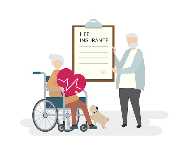 Illustration of seniors with life insurance Free Vector
