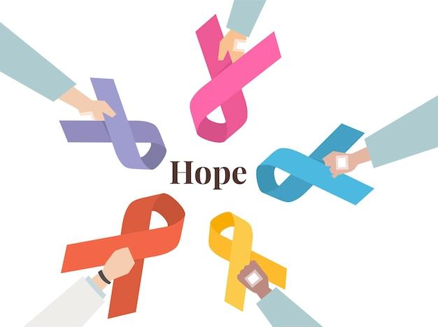 Illustration set of awareness ribbons Free Vector