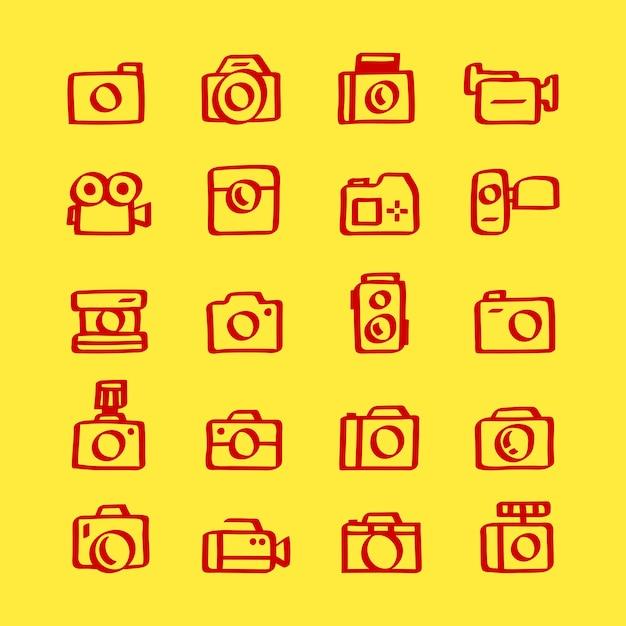Illustration set of camera icons Free Vector