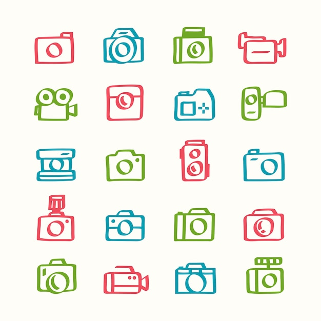 Illustration set of camera icons Free Vector