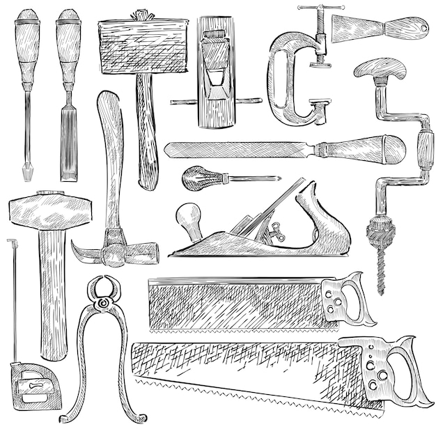Illustration of a set of carpenter tools Free Vector