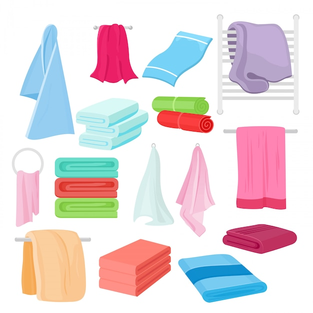 Illustration set of cartoon towels in different colors and shapes. cloth towel for bath. Premium Vector