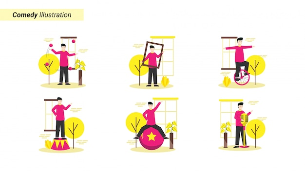 Illustration set of comedy shows that make the model laugh and be happy Premium Vector