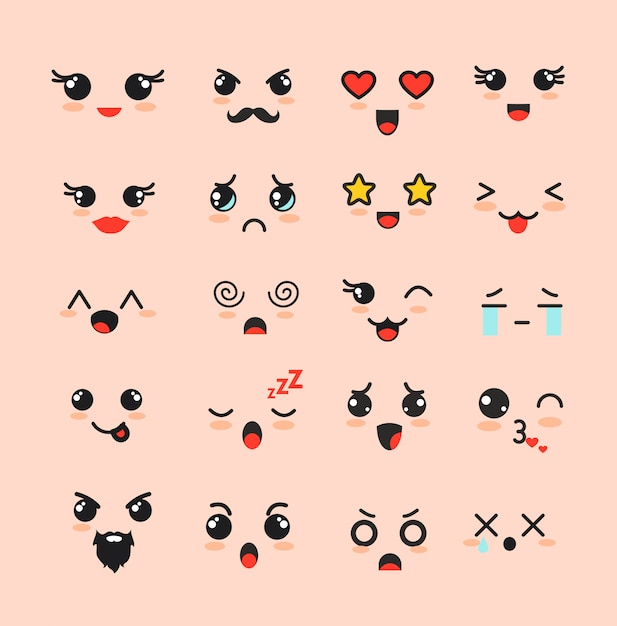 Illustration set of cute faces, different kawaii emoticons, emoji adorable characters icons  on whit