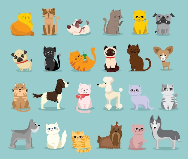 Illustration set of cute and funny cartoon pet characters. different breed of dogs and cats in the flat style Premium Vector
