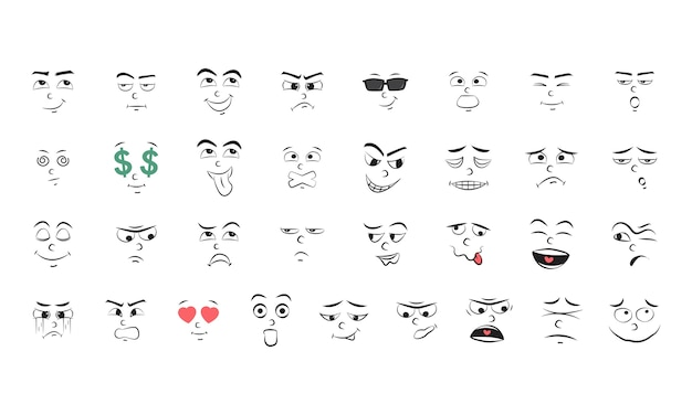 Illustration set of emotion Free Vector